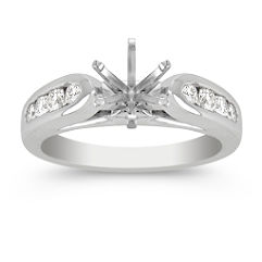 Raised Round Diamond Engagement Ring