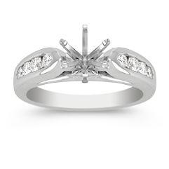 Raised Round Diamond Engagement Ring