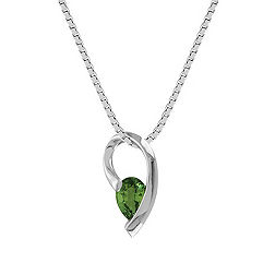 Pear Shaped Green Sapphire Pendant (18 in.)