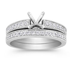 Round Diamond Wedding Set with Milgrain and Pave Setting