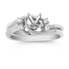 Swirl Wedding Set with Diamond Accents