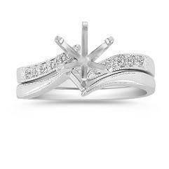 Zigzag Swirl Diamond Wedding Set with Pavé Setting