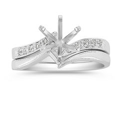 Zigzag Swirl Diamond Wedding Set with Pave Setting