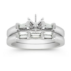Three-Stone Baguette Diamond Wedding Set with Channel Setting