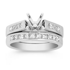 Cathedral Diamond Wedding Set with Channel Setting.