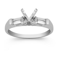 Three-Stone Baguette Cut Diamond Engagement Ring with Channel Setting