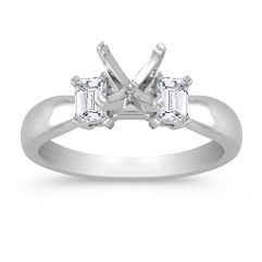Three-Stone Emerald Cut Diamond Engagement Ring