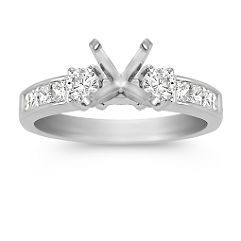 Three-Stone Cathedral Princess Cut and Round Diamond Engagement Ring