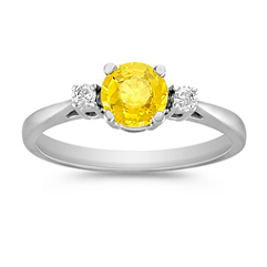 Round Yellow Sapphire and Diamond Three Stone Ring