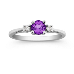 Round Lavender Sapphire and Diamond Three-Stone Ring