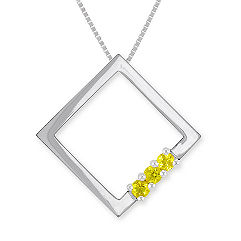 "Round Yellow Sapphire Pendant (18"")"