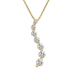 Round Diamond Journey Pendant in 14k Yellow Gold - 1/2 ct. t.w. (18 in.)