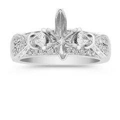 Round and Trillion Cut Diamond Engagement Ring at Shane Co