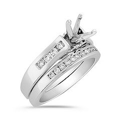 Round Diamond Channel Set Wedding Set