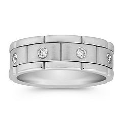 Bezel Set Round Diamond Linked Ring