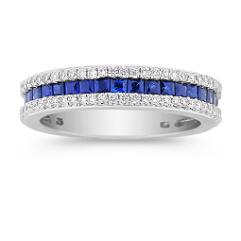 Princess Cut Sapphire and Outlining Diamond Wedding Band