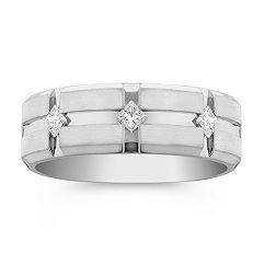 Men's Princess Cut Diamond Wedding Band in White Gold