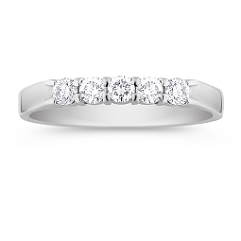 Five Stone Round Diamond Wedding Band -1/3 ct. t.w.