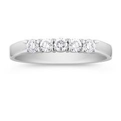 Five Stone Round Diamond Wedding Band -1/3 ct. t.w.