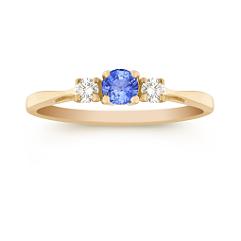 Round Kentucky Blue Sapphire and Diamond Three-Stone Ring