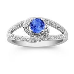 Round Kentucky Blue Sapphire and Diamond Ring with Split Shank