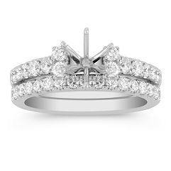 Round Diamond Wedding Set with Double Accent Diamonds
