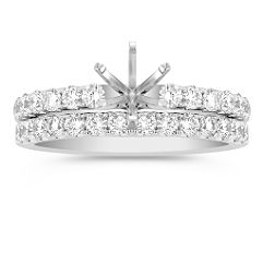 Classic Diamond Wedding Set with Pavé Setting