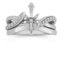 Swirl Diamond Platinum Wedding Set