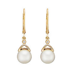 7.5mm Cultured Akoya Pearl and Diamond Earrings