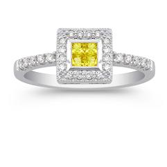 Princess Cut Yellow Sapphire and Diamond Ring