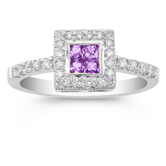 Princess Cut Lavender Sapphire and Diamond Ring