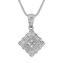 Princess Cut and Round Diamond Pendant (18)