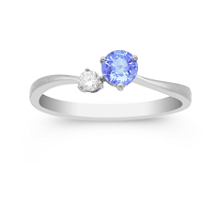 Round Ice Blue Sapphire and Diamond Joined Ring