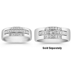 Three-Row Round Diamond Wedding Band - 1/6 ct. t.w.