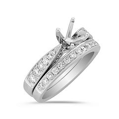 Narrowed Peak Round Diamond Wedding Set