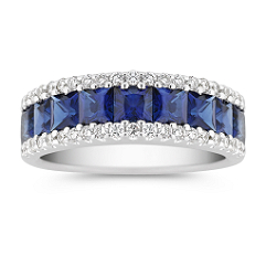 Princess Cut Sapphire and Diamond Ring