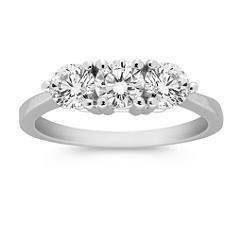 Round Diamond Three-Stone Ring in Platinum