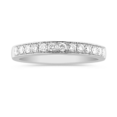 Round Diamond Lined Wedding Band with Pave Setting