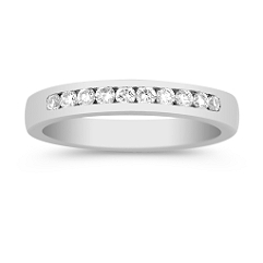Ten Stone Round Diamond Wedding Band