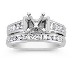 Round Diamond Wedding Set in Platinum