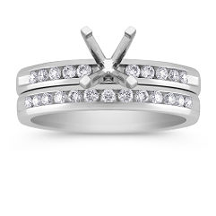 Channel Set Round Diamond Wedding Set