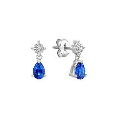 Pear Shaped Sapphire and Diamond Earrings