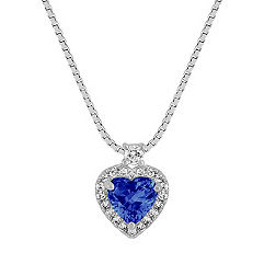 Heart-Shaped Sapphire and Round Diamond Pendant (18)