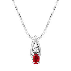 Oval Ruby and Diamond Pendant (18 in.)