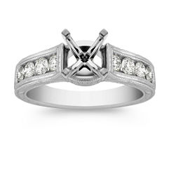 Channel Set Round Diamond Engagement Ring