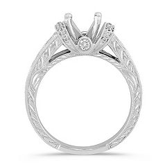 Vintage Cathedral Diamond Engagement Ring with Pavé and Channel Setting