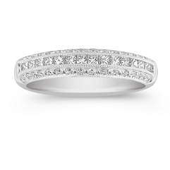 Round and Princess Cut  Diamond Wedding Band