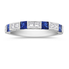 Princess Cut Sapphire and Diamond Wedding Band - 1 ct. t.g.w.