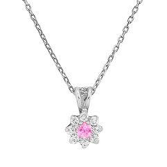 Round Pink Sapphire and Diamond Pendant (18)