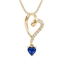 Heart Shaped Sapphire and Diamond Heart Pendant (18 in.)